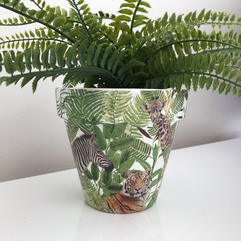Animal Safari Jungle Planter Pot 17cm - Palm Pot & Peony