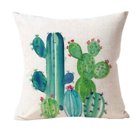 Cactus Cushion Cover - Palm Pot & Peony