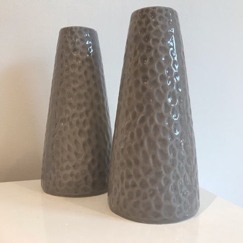 Grey Dimpled Scandi Style Vase - Palm Pot & Peony