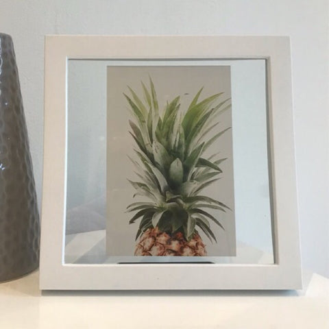 Classic Golden Pineapple in a Frame - Palm Pot & Peony