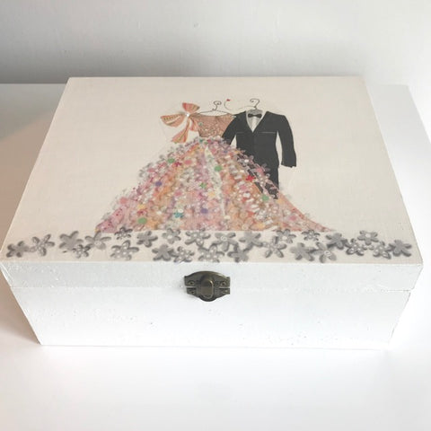Bride & Groom Large Wooden Wedding Keepsake Box