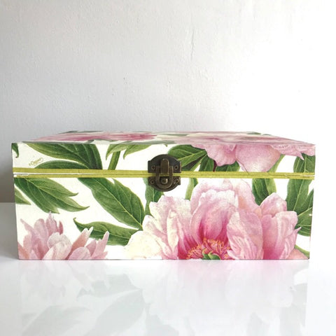 Blush Pink Peony Flower Large Wooden Wedding Keepsake Box