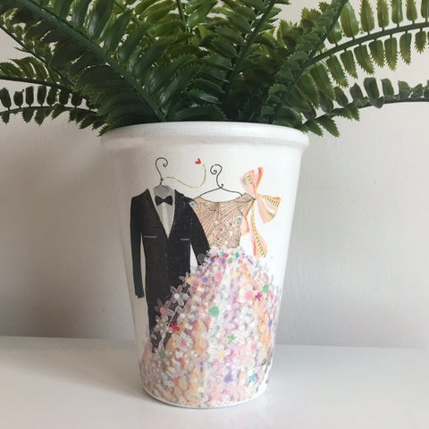 Bride & Groom Wedding Tall Plant Pot h15cm - Palm Pot & Peony