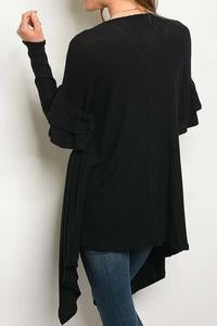 Ruffled Long Sweater Cardigan
