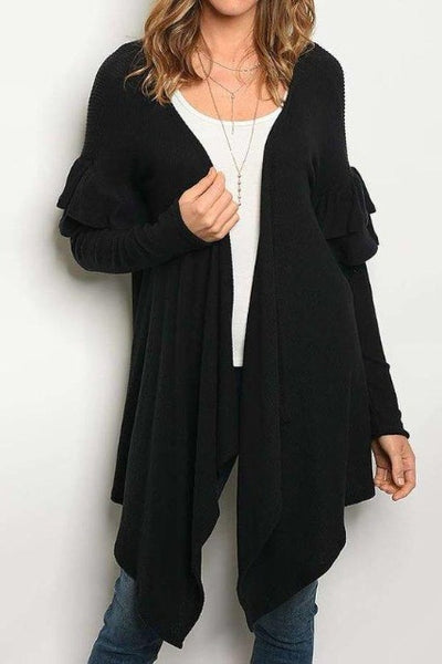 Ruffled Long Sweater Cardigan Black