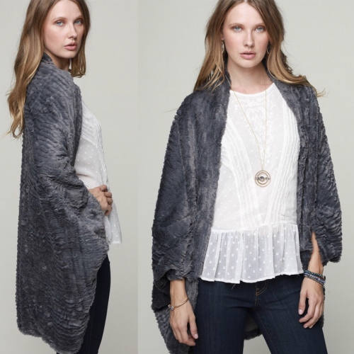 Gray Faux Fur Shrug