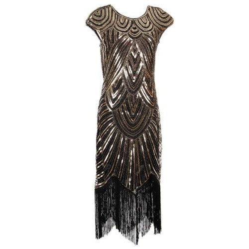 Flapper Dress Black & Golden