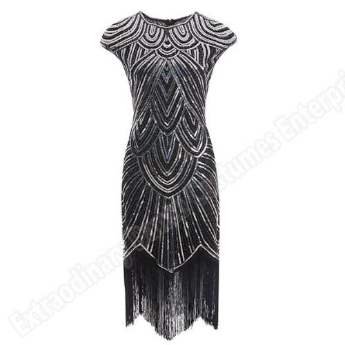 Flapper Dress Black & Silver