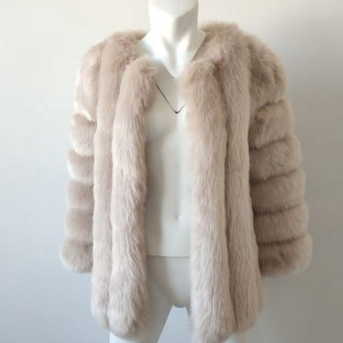 Fluffy Faux Fox Textured Coat Beige