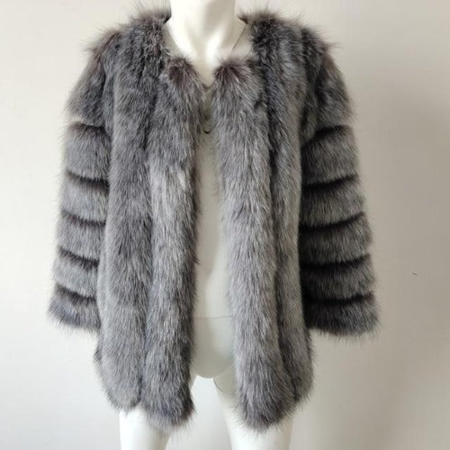 Fluffy Faux Fox Textured Coat Silver