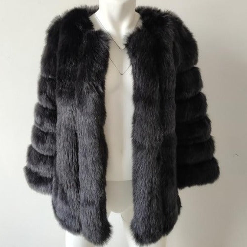 Fluffy Faux Fox Textured Coat