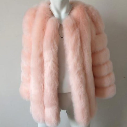 Fluffy Faux Fox Textured Coat Pink
