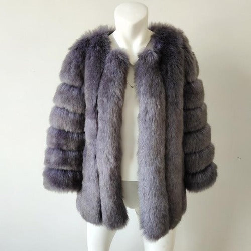 Fluffy Faux Fox Textured Coat Blue Gray