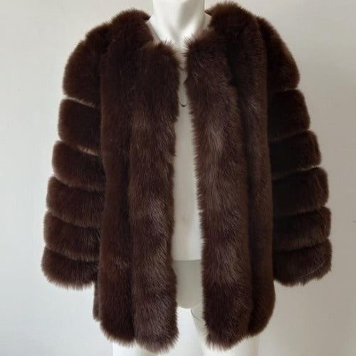 Fluffy Faux Fox Textured Coat Brown
