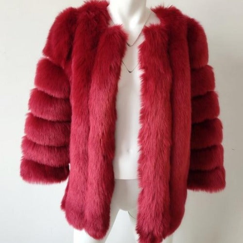 Fluffy Faux Fox Textured Coat Burgundy