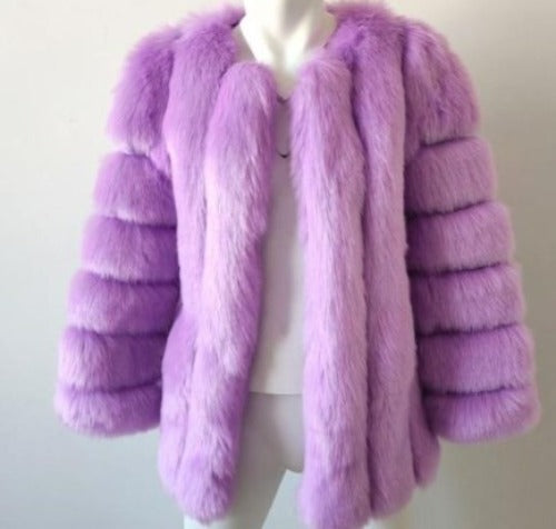Fluffy Faux Fox Textured Coat Lavender