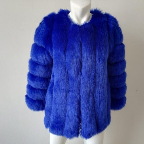 Fluffy Faux Fox Textured Coat Royal Blue