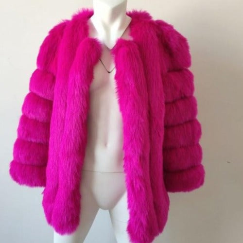Fluffy Faux Fox Textured Coat Fuchsia