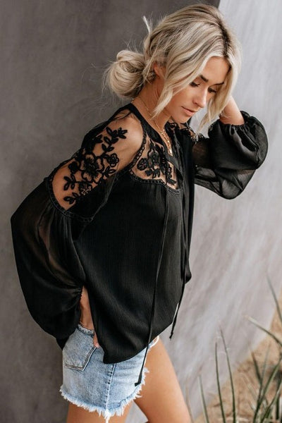 Lacy Shoulder Chiffon Blouse Side View