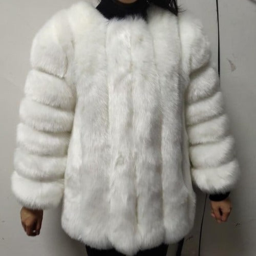 Fluffy Faux Fox Textured Coat White