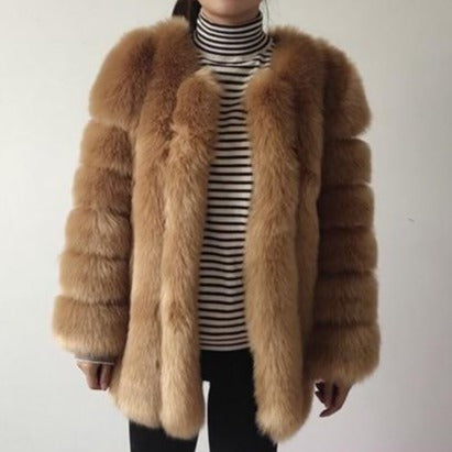 Fluffy Faux Fox Textured Coat Camel