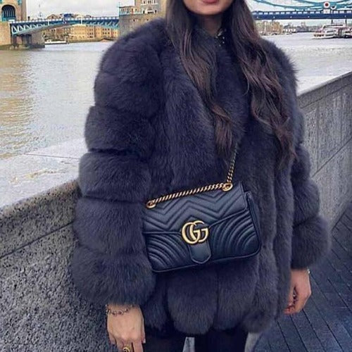 Fluffy Faux Fox Textured Coat Dark Gray