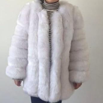 Fluffy Faux Fox Textured Coat Coral Red