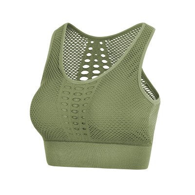 Breathable Fitness Bra Army Green