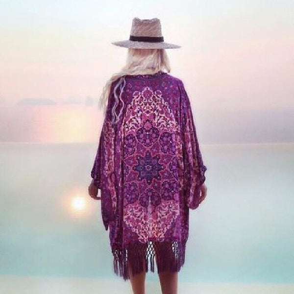 Purple Tassel Beach Kimono Back View