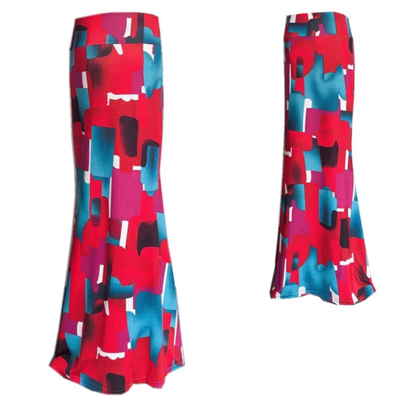 Printed Resort Maxi Skirt Red