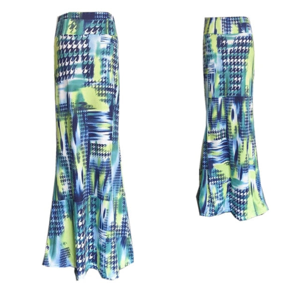 Printed Resort Maxi Skirt Blue