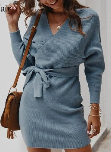 Elegant Wrap Sweater Dress Light Blue