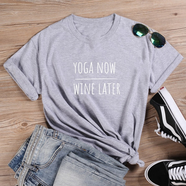 Yoga Now Wine Later T-shirt Gray/White
