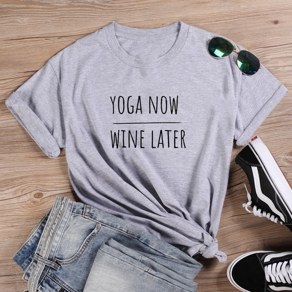 Yoga Now Wine Later T-shirt Gray/Black