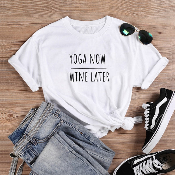 Yoga Now Wine Later T-shirt White/Black