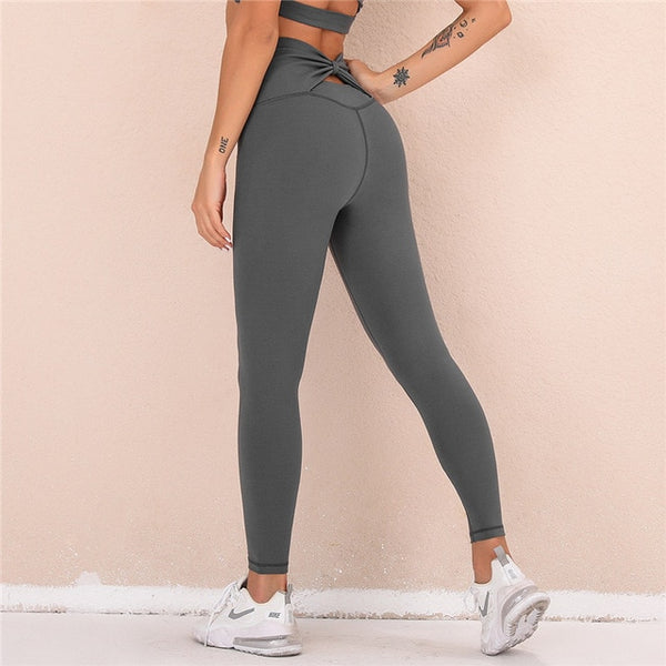 Butterfly Back Yoga Leggings Dark Gray