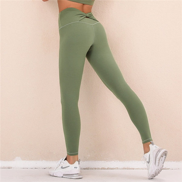 Butterfly Back Yoga Leggings Army Green