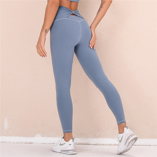 Butterfly Back Yoga Leggings Blue Gray