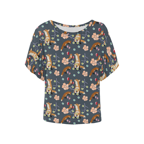 Fox and flowers batwing top