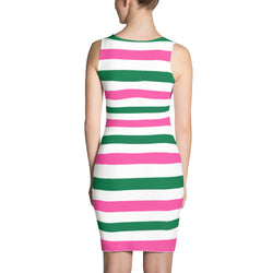 Forest Green and Hot Pink Stripes Sublimation Cut & Sew Dress