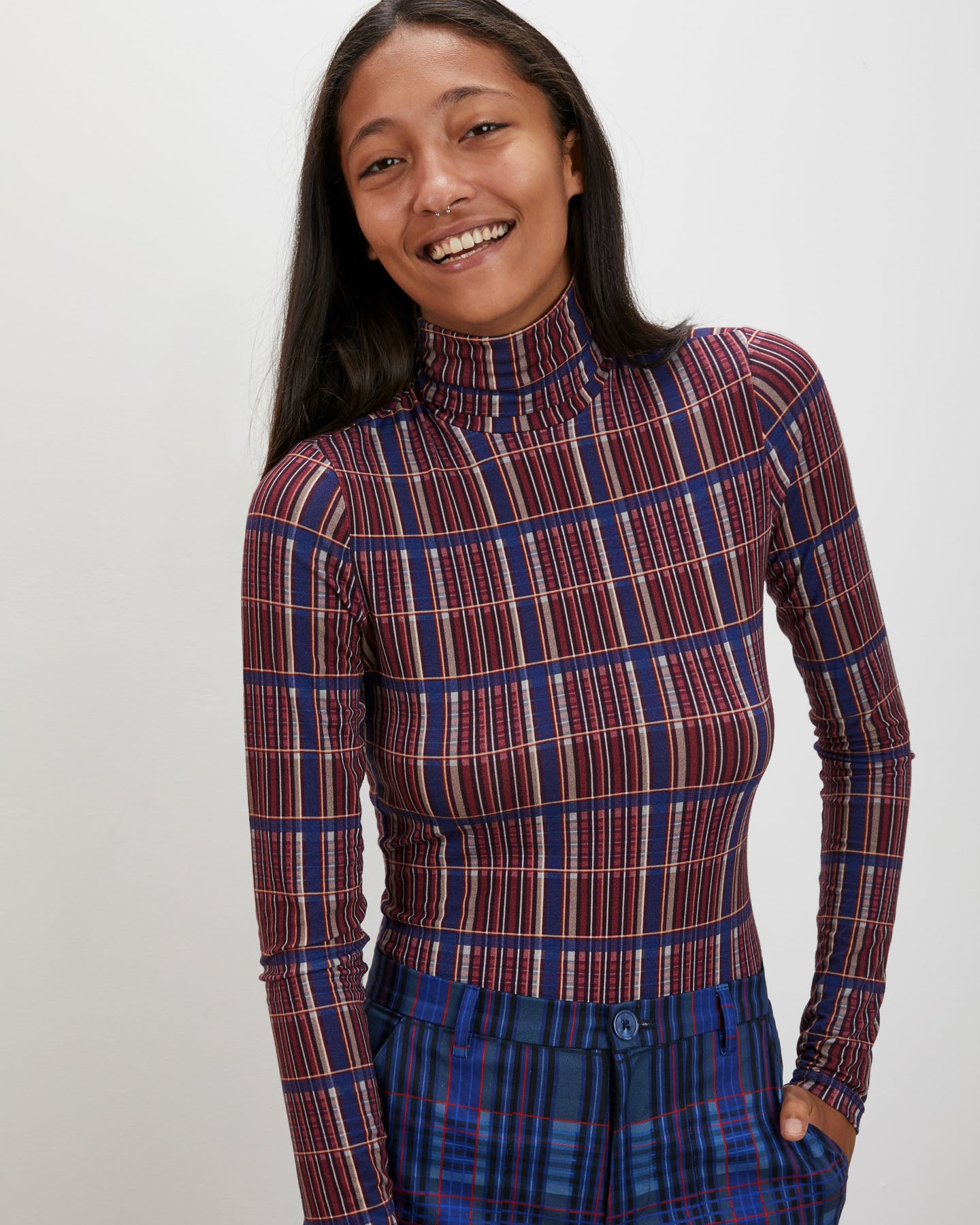 Turtleneck | Cerise Plaid