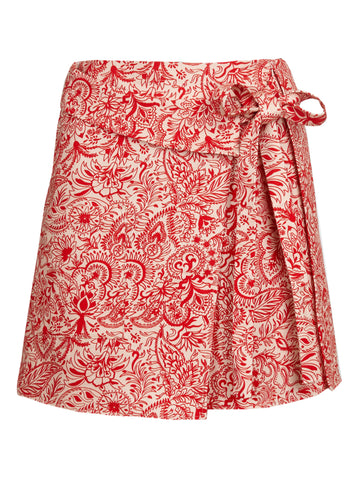 Wrap Kilt Skirt | Peach Infrared Paisley