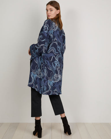 Navy printed Kimono has wide, full-length sleeves