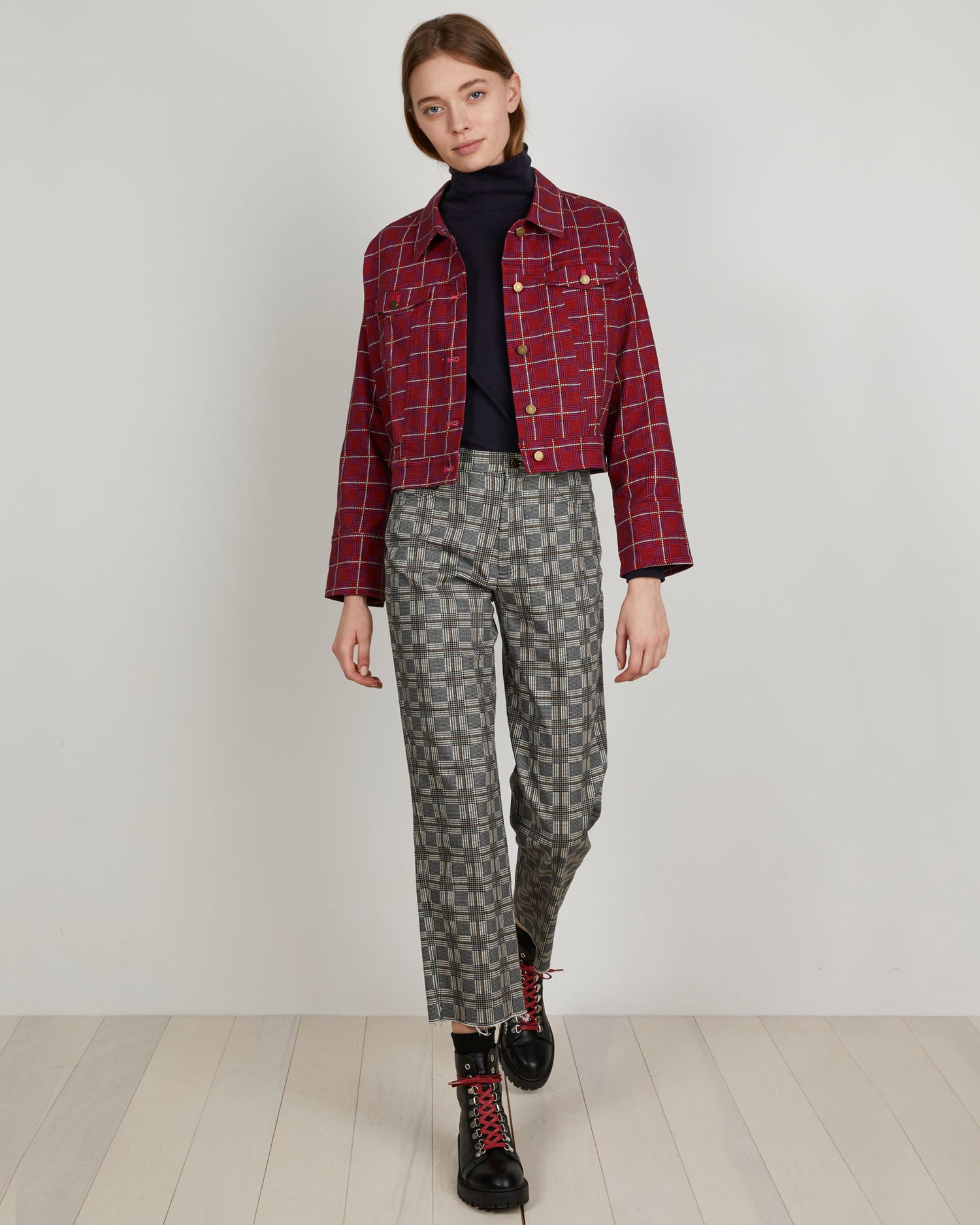 Cado Jacket | Pink Glen Plaid