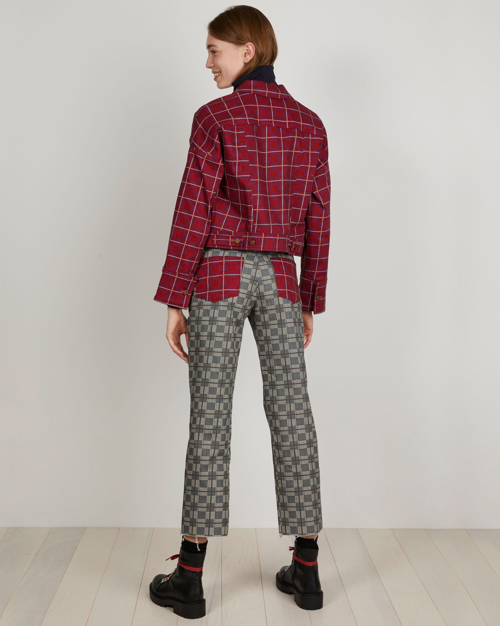 THE KIT's printed red plaid Jean denim Jacket has a slouchy fit and dropped shoulder. Styles great with high-waisted skirt or used a layering piece.
