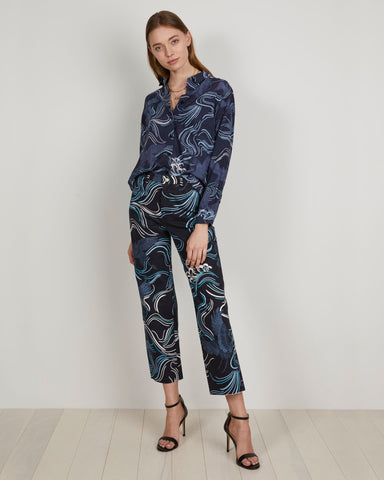 printed navy denim jeans matching set