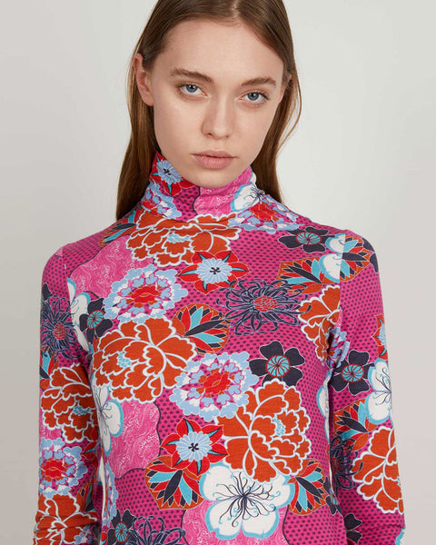 Turtleneck | Pink Pop Floral