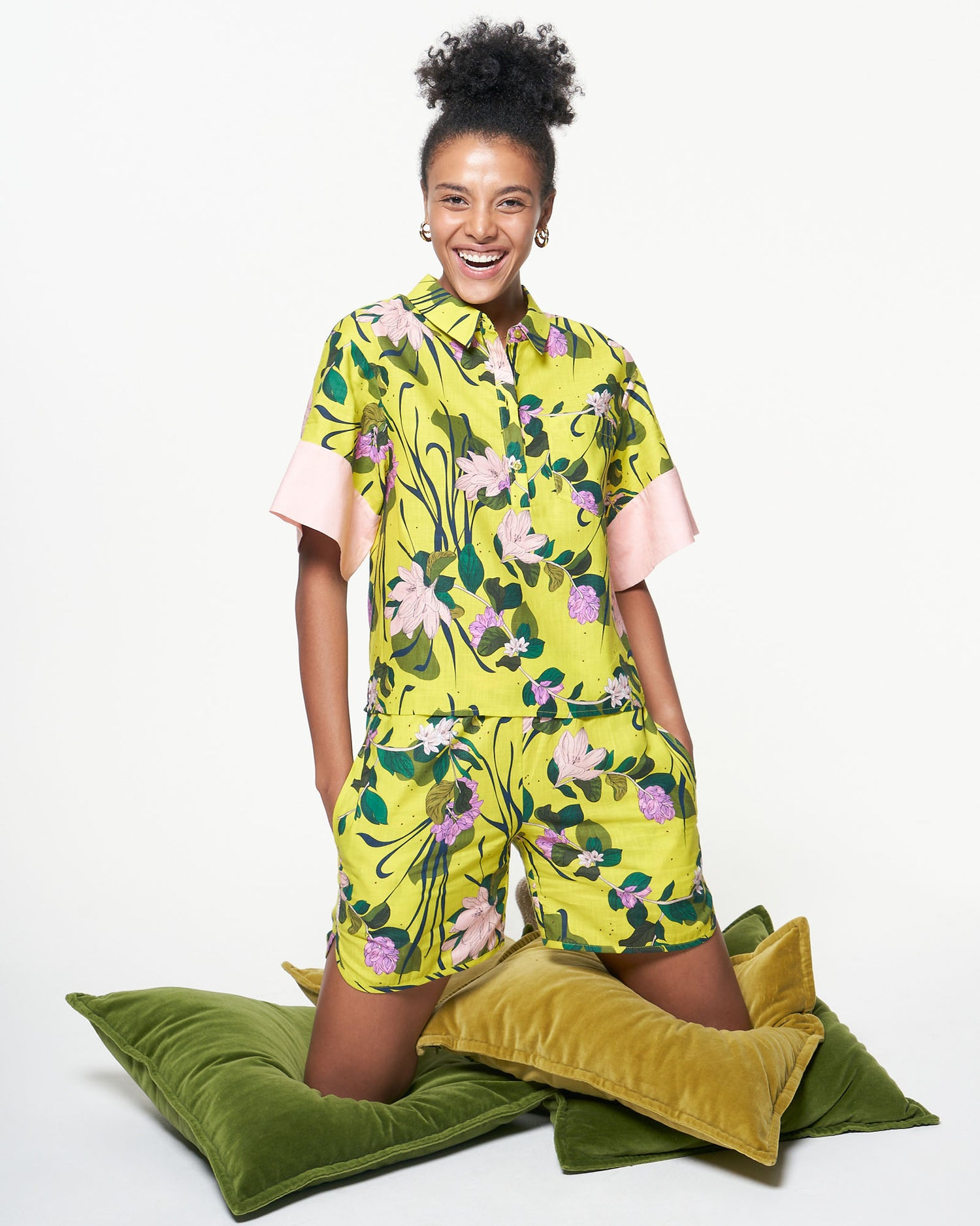 Soccer Short | Lime Beach Floral