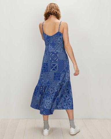 Trapeze Dress | Blue White Batik