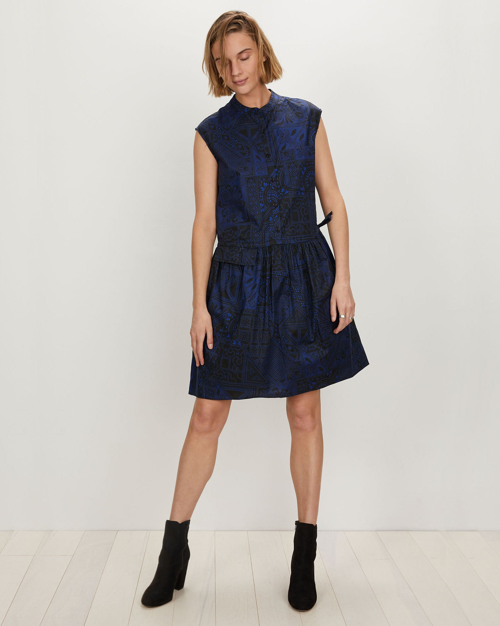 Deconstructed Shirtdress | Black Blue Batik